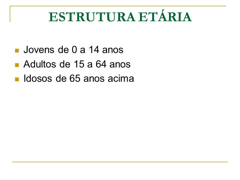 ESTRUTURA ETÁRIA Jovens de 0 a 14 anos Adultos de 15 a 64 anos Idosos de 65 anos acima