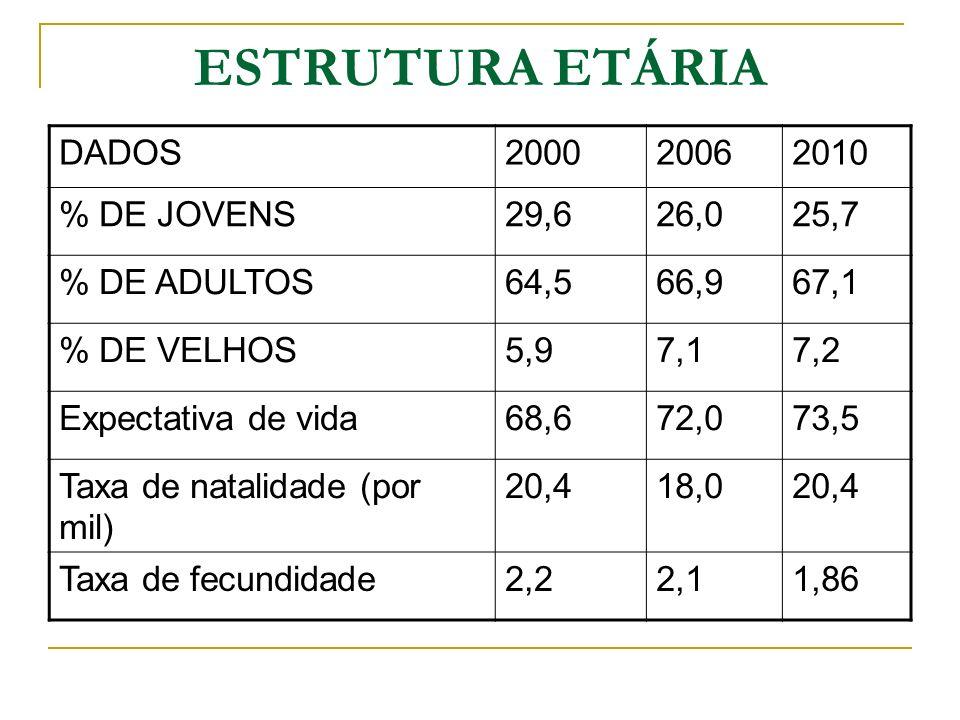 DADOS200020062010 % DE JOVENS29,626,025,7 % DE ADULTOS64,566,967,1 % DE VELHOS5,97,17,2 Expectativa de vida68,672,073,5 Taxa de natalidade (por mil) 2