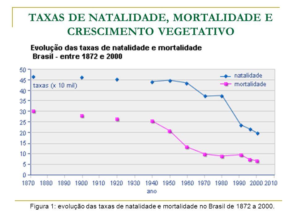 TAXAS DE NATALIDADE, MORTALIDADE E CRESCIMENTO VEGETATIVO Figura 1: evolução das taxas de natalidade e mortalidade no Brasil de 1872 a 2000.