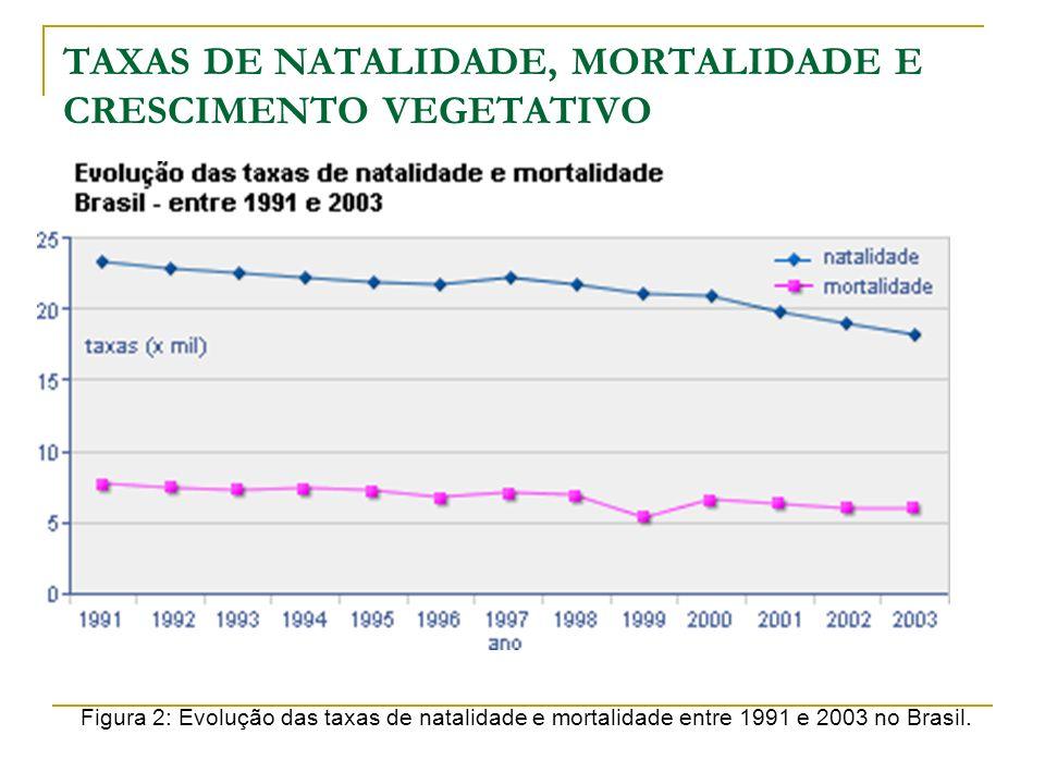 TAXAS DE NATALIDADE, MORTALIDADE E CRESCIMENTO VEGETATIVO Figura 2: Evolução das taxas de natalidade e mortalidade entre 1991 e 2003 no Brasil.