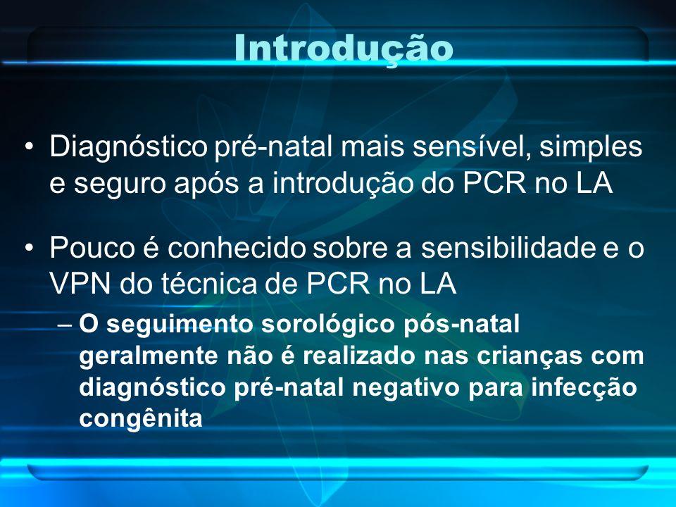 Introdução Diagnóstico pré-natal mais sensível, simples e seguro após a introdução do PCR no LA Pouco é conhecido sobre a sensibilidade e o VPN do téc