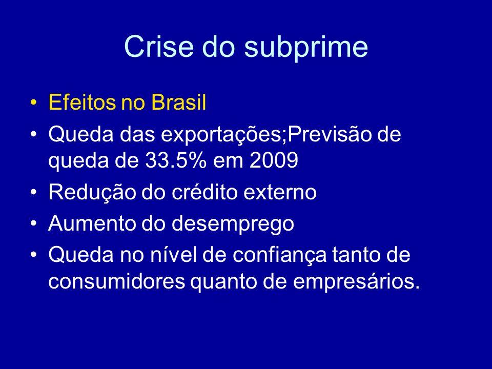 Crise do subprime Efeitos no Brasil Queda das exportações;Previsão de queda de 33.5% em 2009 Redução do crédito externo Aumento do desemprego Queda no