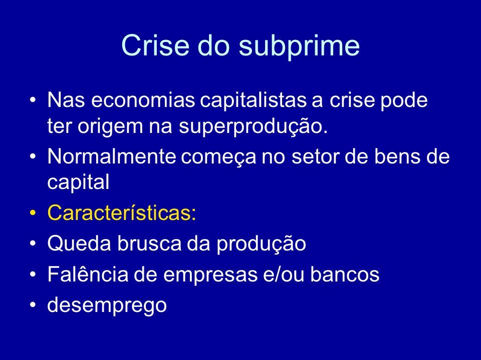 Crise do subprime Nas economias capitalistas a crise pode ter origem na superprodução. Normalmente começa no setor de bens de capital Características:
