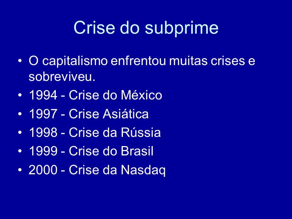 Crise do subprime O que torna esta crise diferente A) Tem abrangência global (nisto só se parece com a crise de 1929) B) Irrompe no lado financeiro e não no lado real da economia (não se trata de crise de superprodução) C) Grande parte das perdas afetam a Europa e o Japão