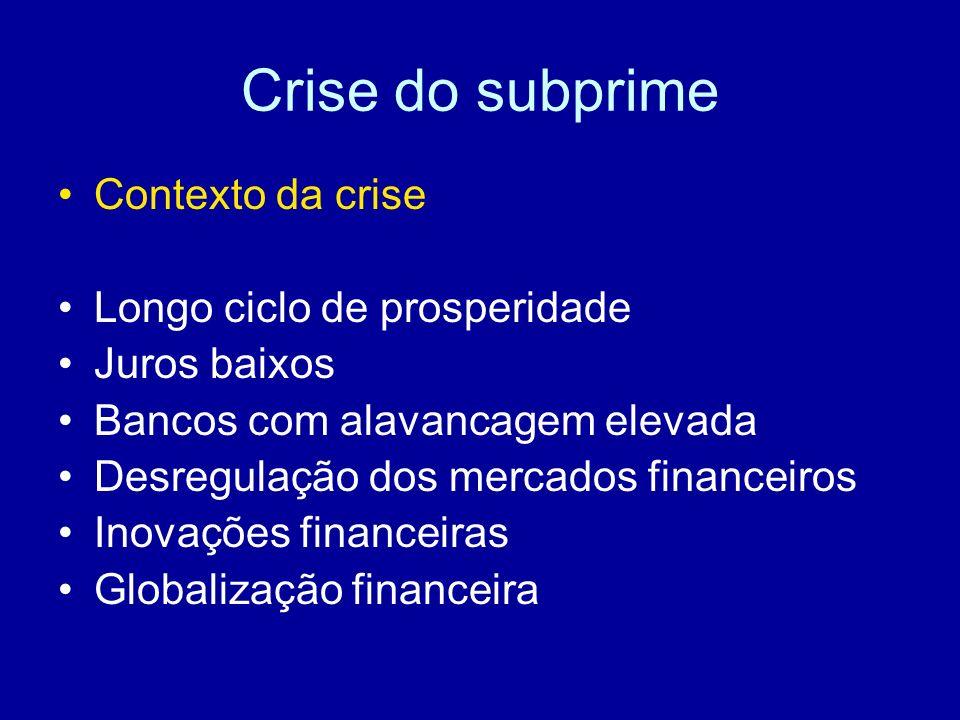 Crise do subprime Contexto da crise Longo ciclo de prosperidade Juros baixos Bancos com alavancagem elevada Desregulação dos mercados financeiros Inov