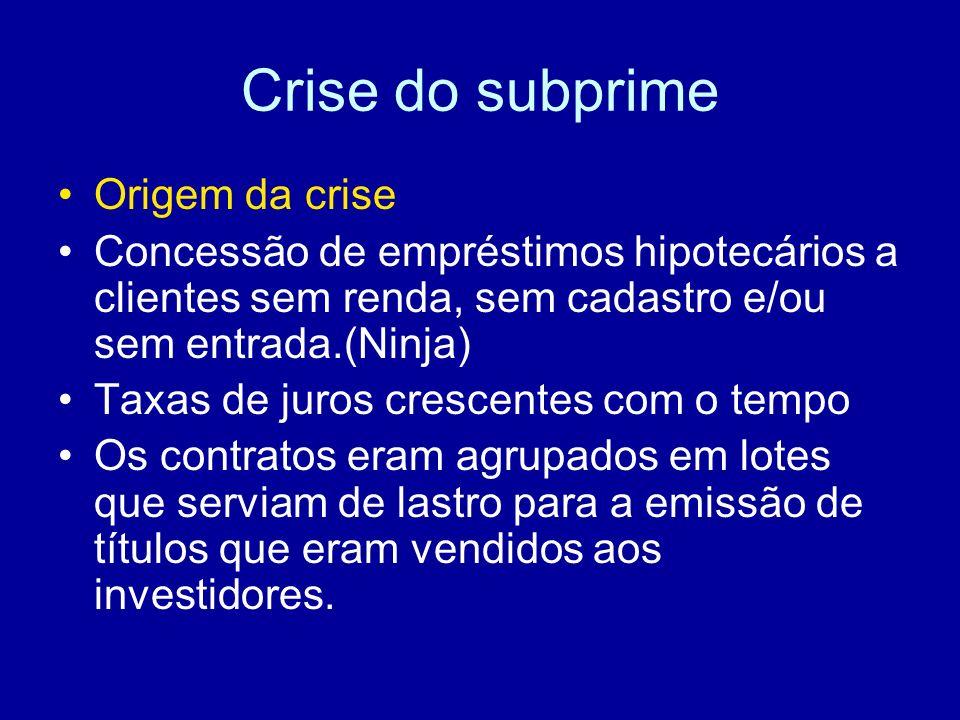 Crise do subprime Todos já ouvimos a afirmação: Crise = perigo + oportunidade.