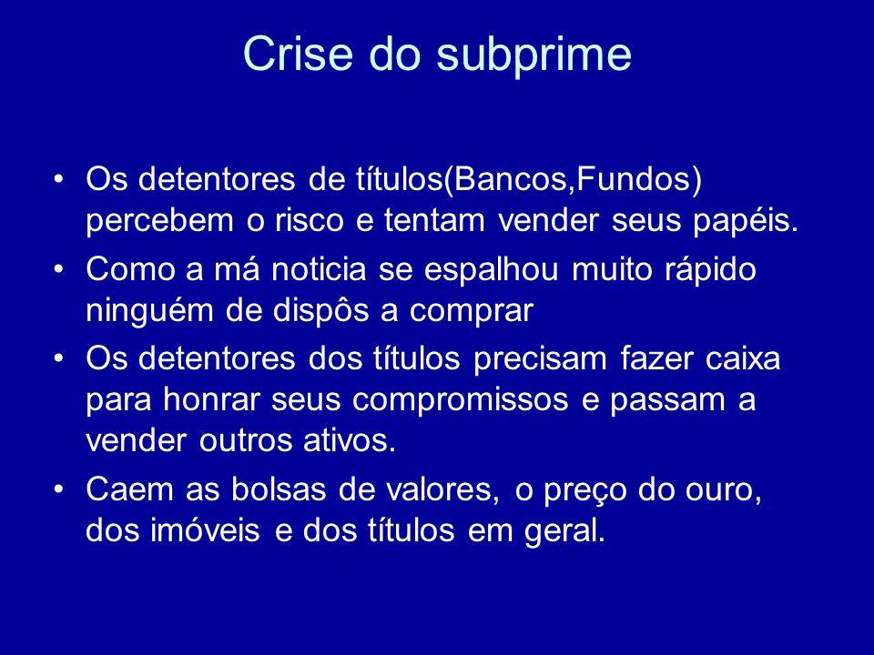 Crise do subprime Os detentores de títulos(Bancos,Fundos) percebem o risco e tentam vender seus papéis. Como a má noticia se espalhou muito rápido nin