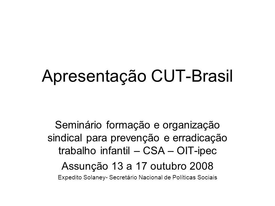 Apresentação CUT-Brasil Seminário formação e organização sindical para prevenção e erradicação trabalho infantil – CSA – OIT-ipec Assunção 13 a 17 out