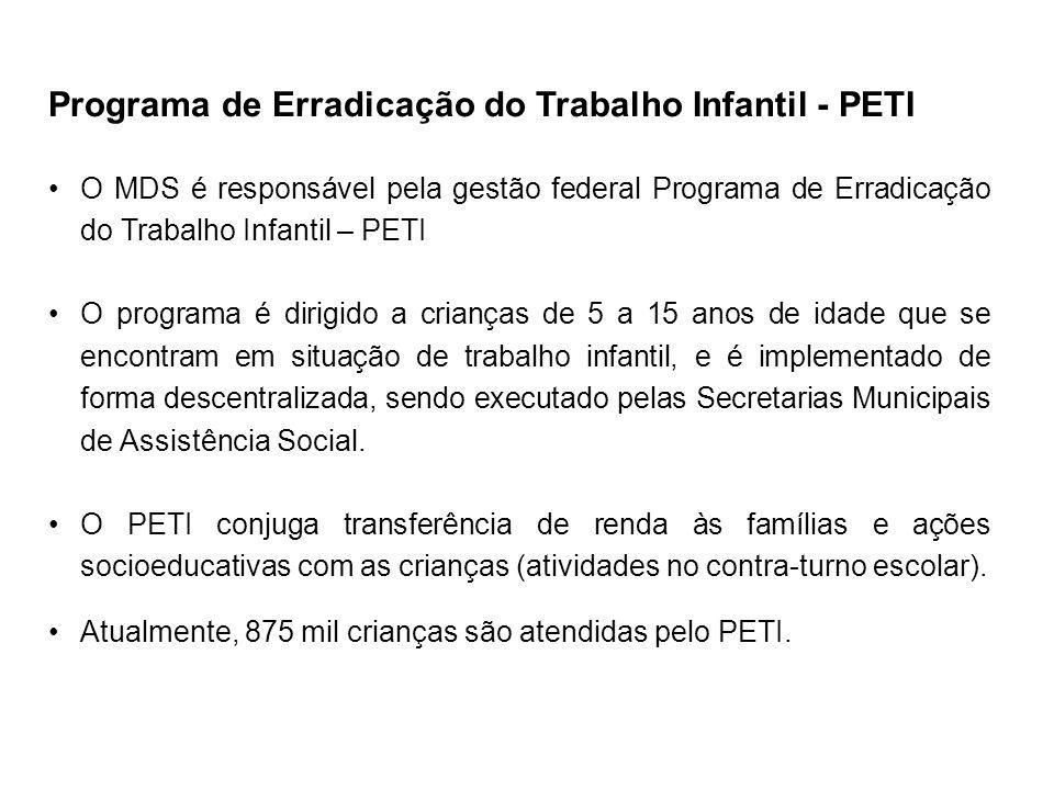 Programa de Erradicação do Trabalho Infantil - PETI O MDS é responsável pela gestão federal Programa de Erradicação do Trabalho Infantil – PETI O prog