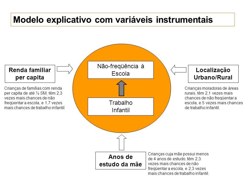 Modelo explicativo com variáveis instrumentais Não-freqüência à Escola Trabalho Infantil Renda familiar per capita Anos de estudo da mãe Localização U