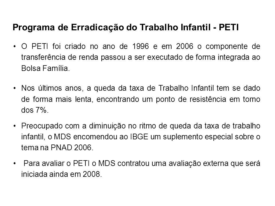 O PETI foi criado no ano de 1996 e em 2006 o componente de transferência de renda passou a ser executado de forma integrada ao Bolsa Família. Nos últi