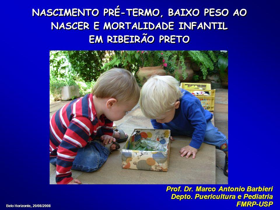NASCIMENTO PRÉ-TERMO, BAIXO PESO AO NASCER E MORTALIDADE INFANTIL EM RIBEIRÃO PRETO Prof. Dr. Marco Antonio Barbieri Depto. Puericultura e Pediatria F