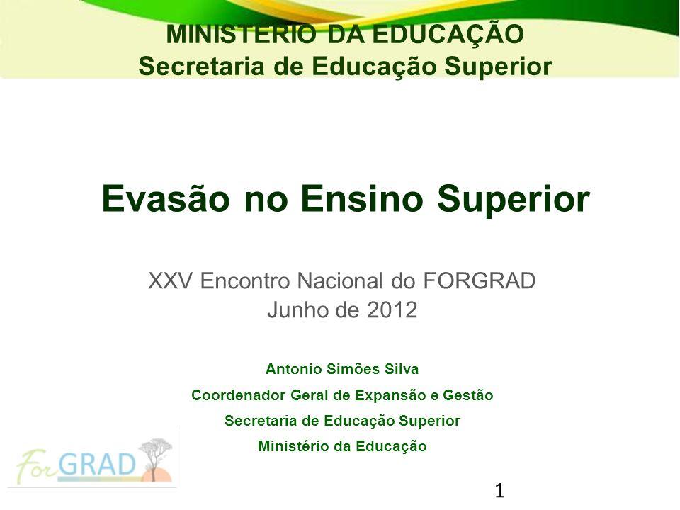 1 Evasão no Ensino Superior XXV Encontro Nacional do FORGRAD Junho de 2012 Antonio Simões Silva Coordenador Geral de Expansão e Gestão Secretaria de E