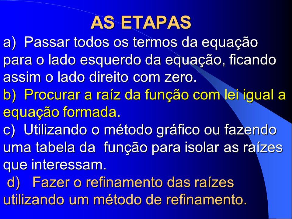 AS ETAPAS a) Passar todos os termos da equação para o lado esquerdo da equação, ficando assim o lado direito com zero.