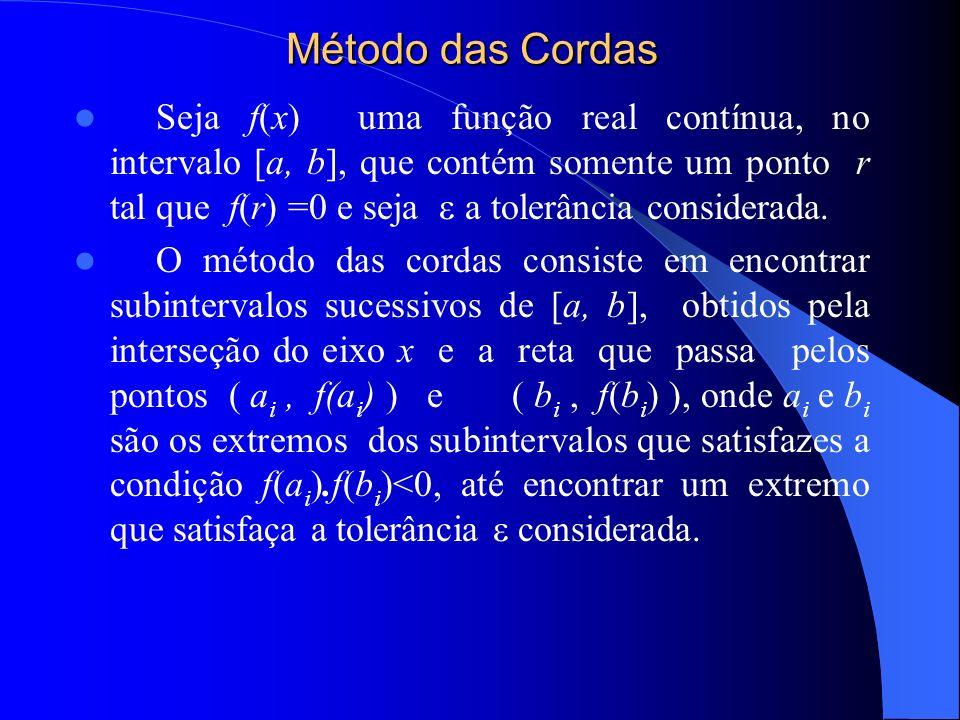 Método das Cordas Seja f(x) uma função real contínua, no intervalo [a, b], que contém somente um ponto r tal que f(r) =0 e seja a tolerância considerada.
