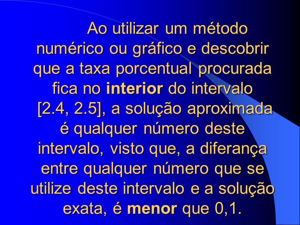 Ao utilizar um método numérico ou gráfico e descobrir que a taxa porcentual procurada fica no interior do intervalo [2.4, 2.5], a solução aproximada é qualquer número deste intervalo, visto que, a diferança entre qualquer número que se utilize deste intervalo e a solução exata, é menor que 0,1.