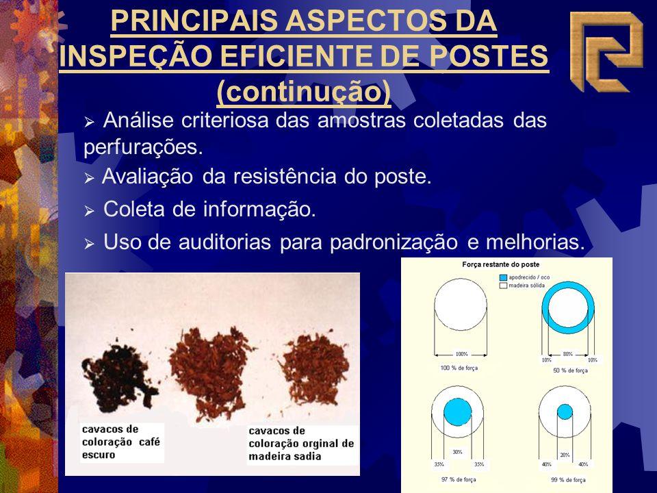 PRINCIPAIS ASPECTOS DA INSPEÇÃO EFICIENTE DE POSTES (continução) Análise criteriosa das amostras coletadas das perfurações. Avaliação da resistência d