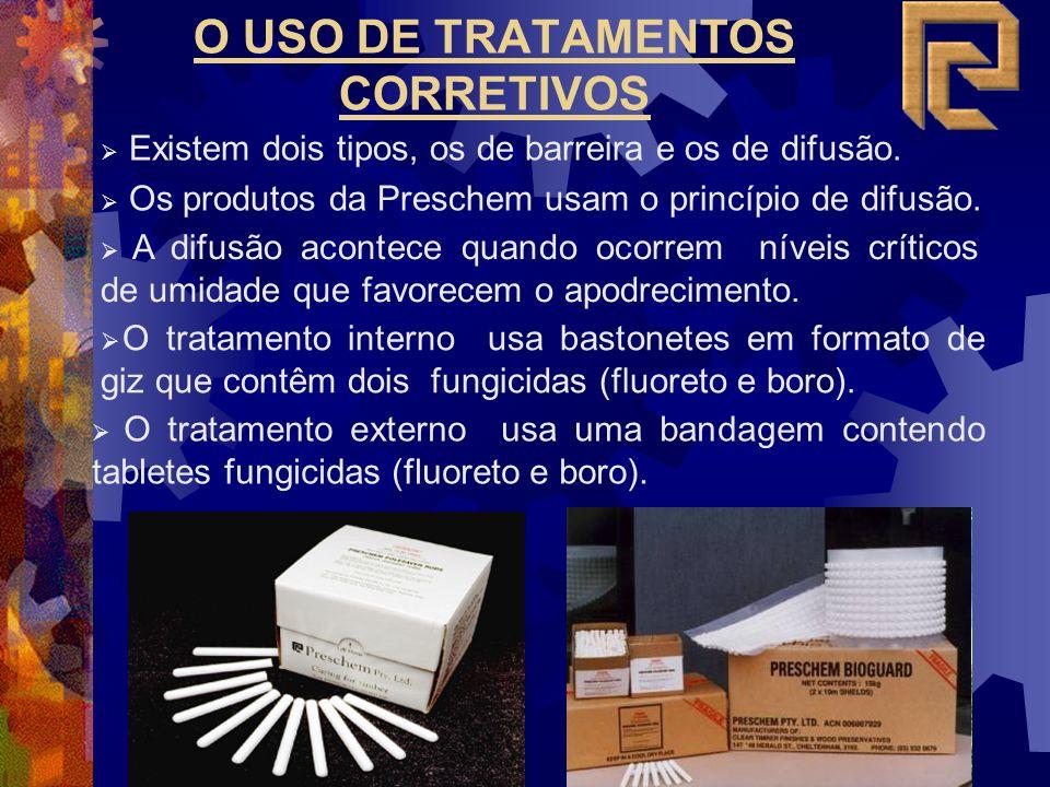O USO DE TRATAMENTOS CORRETIVOS Existem dois tipos, os de barreira e os de difusão. Os produtos da Preschem usam o princípio de difusão. A difusão aco