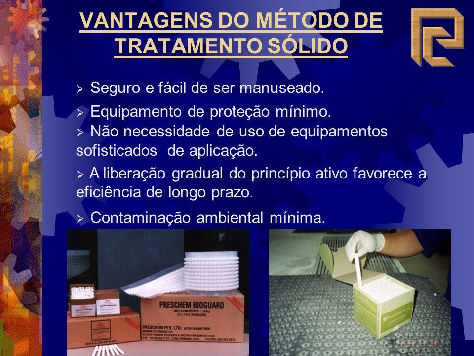 VANTAGENS DO MÉTODO DE TRATAMENTO SÓLIDO Seguro e fácil de ser manuseado.