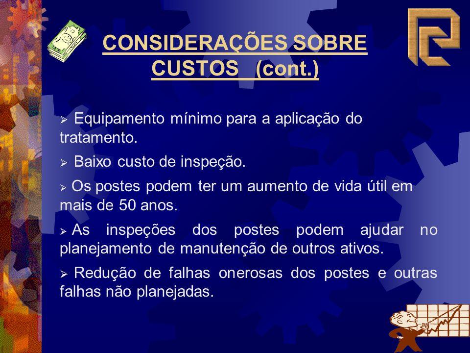 CONSIDERAÇÕES SOBRE CUSTOS (cont.) Equipamento mínimo para a aplicação do tratamento.