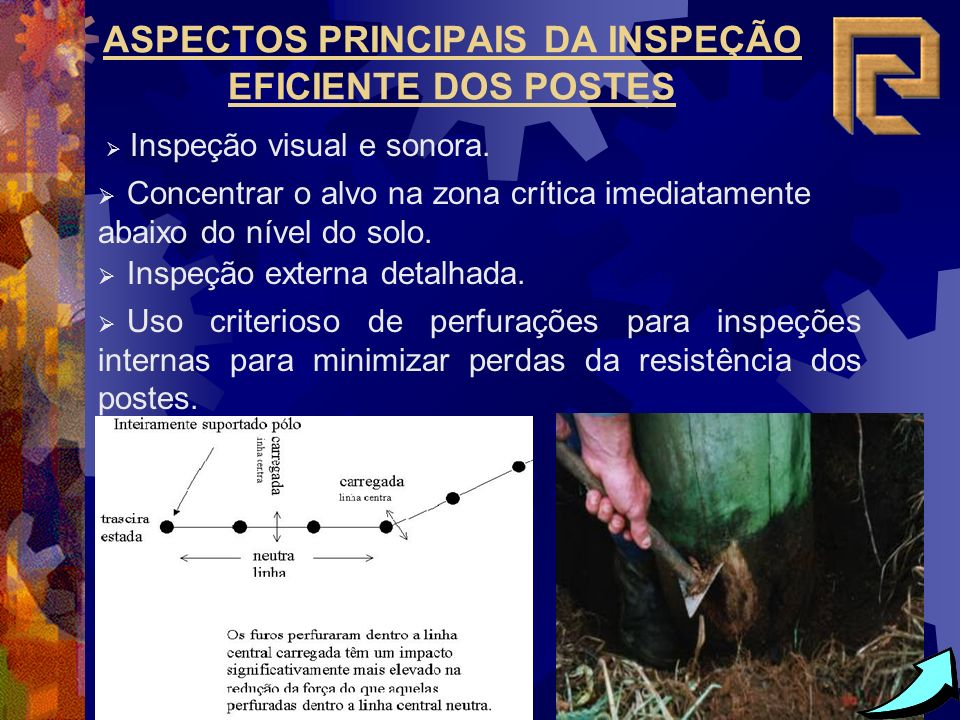 ASPECTOS PRINCIPAIS DA INSPEÇÃO EFICIENTE DOS POSTES Inspeção visual e sonora. Concentrar o alvo na zona crítica imediatamente abaixo do nível do solo