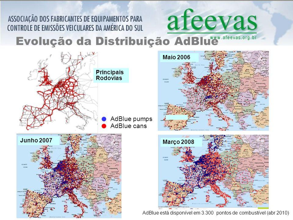 Evolução da Distribuição AdBlue Maio 2006 Junho 2007 Março 2008 Principais Rodovias AdBlue pumps AdBlue cans AdBlue está disponível em 3.300 pontos de combustível (abr 2010)