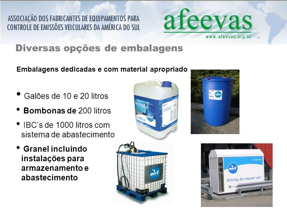 Diversas opções de embalagens Galões de 10 e 20 litros Bombonas de 200 litros IBCs de 1000 litros com sistema de abastecimento Granel incluindo instalações para armazenamento e abastecimento Embalagens dedicadas e com material apropriado