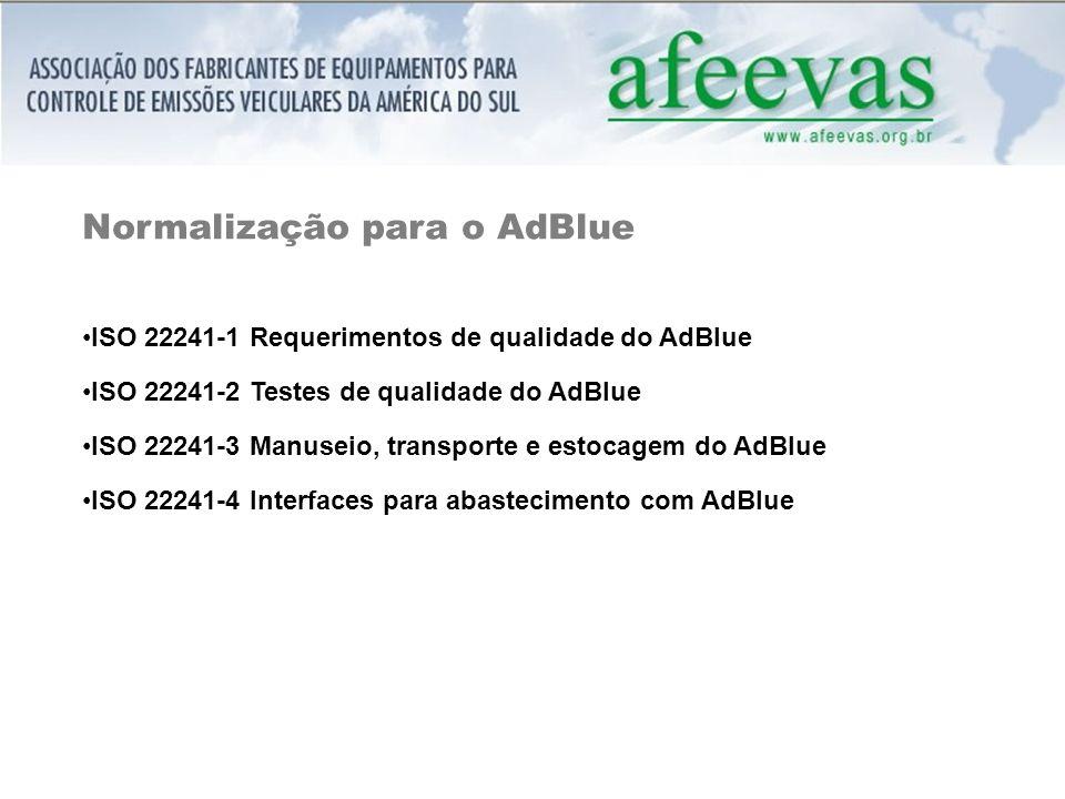 Normalização para o AdBlue ISO 22241-1 Requerimentos de qualidade do AdBlue ISO 22241-2 Testes de qualidade do AdBlue ISO 22241-3 Manuseio, transporte e estocagem do AdBlue ISO 22241-4 Interfaces para abastecimento com AdBlue
