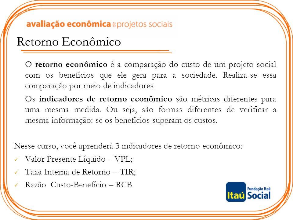 Retorno Econômico O retorno econômico é a comparação do custo de um projeto social com os benefícios que ele gera para a sociedade.
