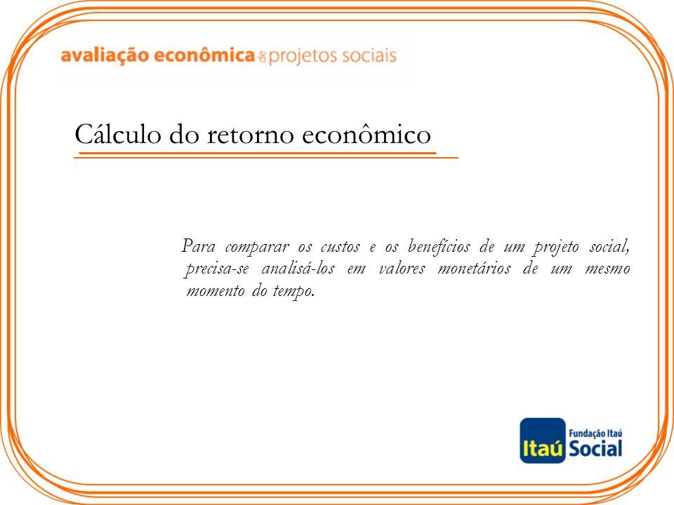 Cálculo do retorno econômico Para comparar os custos e os benefícios de um projeto social, precisa-se analisá-los em valores monetários de um mesmo momento do tempo.
