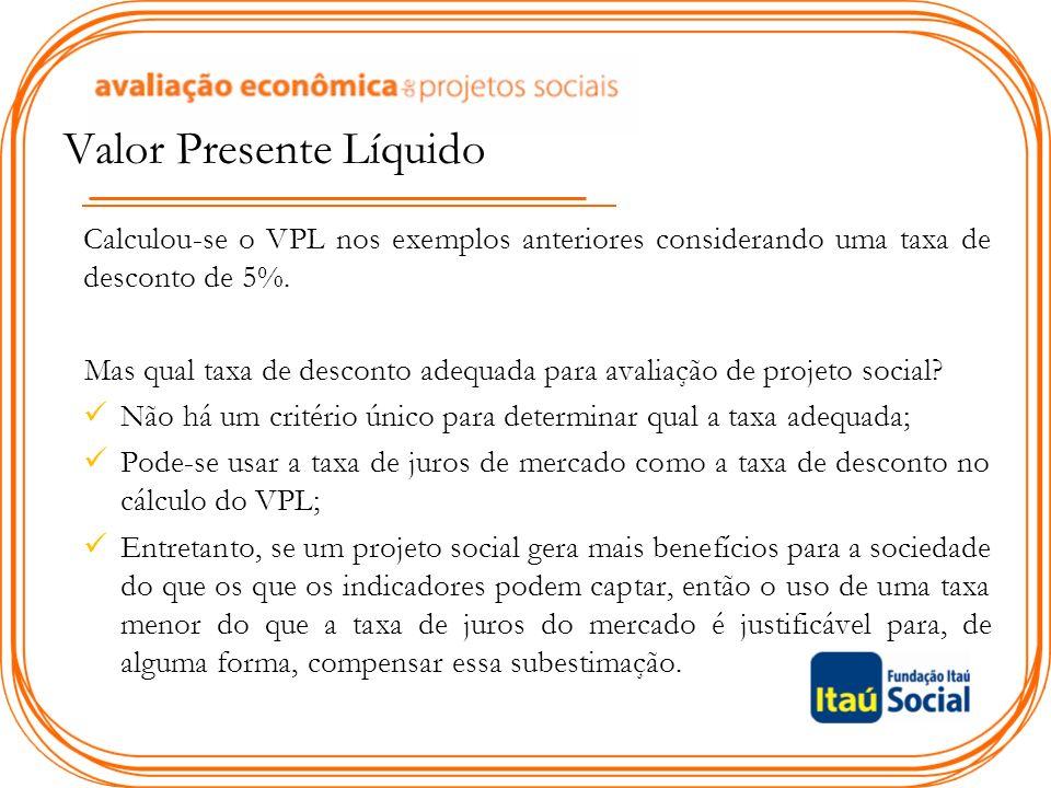 Valor Presente Líquido Calculou-se o VPL nos exemplos anteriores considerando uma taxa de desconto de 5%.