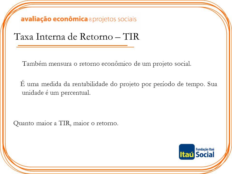 Taxa Interna de Retorno – TIR Também mensura o retorno econômico de um projeto social.
