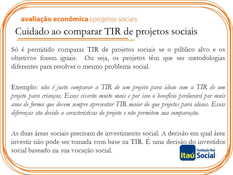 Cuidado ao comparar TIR de projetos sociais Só é permitido comparar TIR de projetos sociais se o público alvo e os objetivos forem iguais.