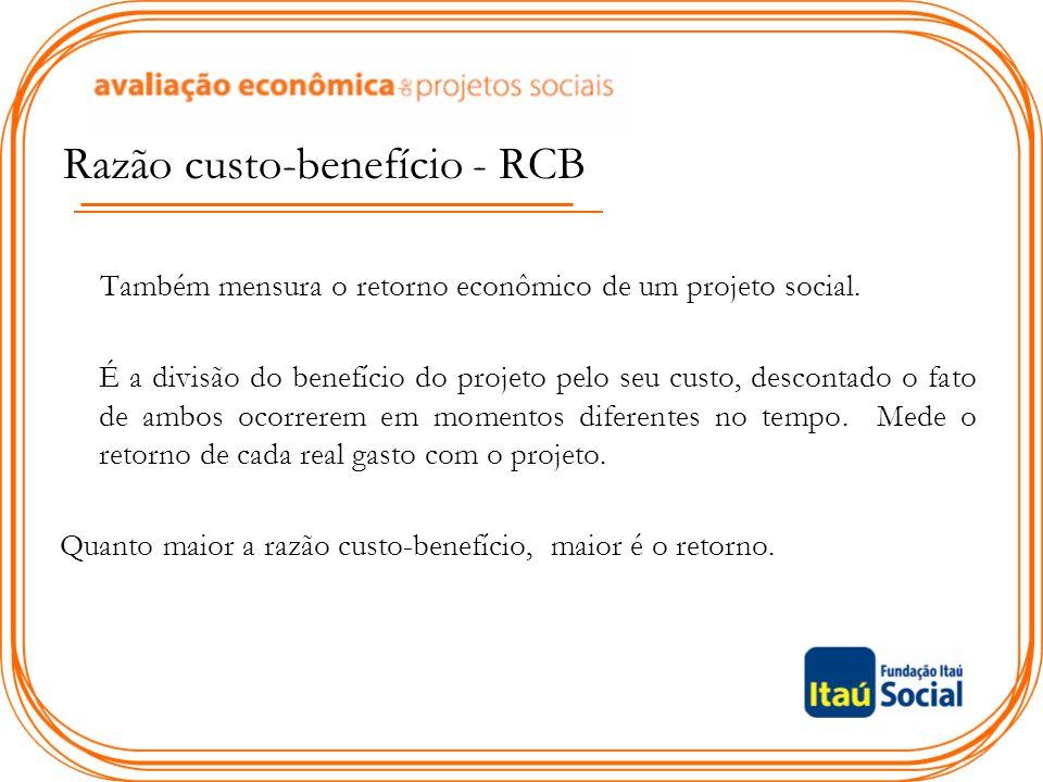 Razão custo-benefício - RCB Também mensura o retorno econômico de um projeto social.