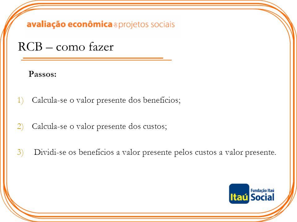 RCB – como fazer Passos: 1)Calcula-se o valor presente dos benefícios; 2)Calcula-se o valor presente dos custos; 3) Dividi-se os benefícios a valor presente pelos custos a valor presente.