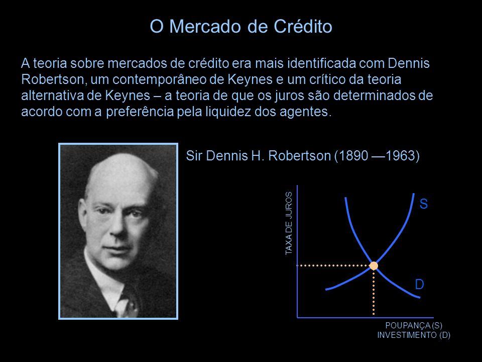 S TAXA DE JUROS POUPANÇA (S) INVESTIMENTO (D) D O Mercado de Crédito A teoria sobre mercados de crédito era um pilar da macroeconomia pré- keynesiana.