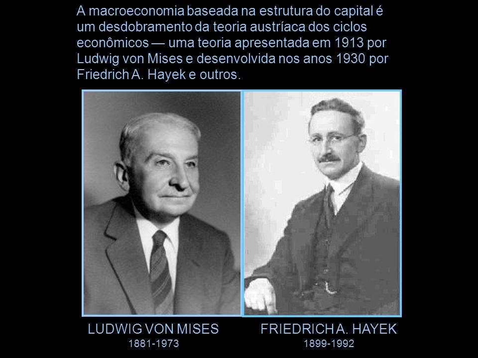 A macroeconomia baseada na estrutura do capital é um desdobramento da teoria austríaca dos ciclos econômicos uma teoria apresentada em 1913 por Ludwig von Mises e desenvolvida nos anos 1930 por Friedrich A.