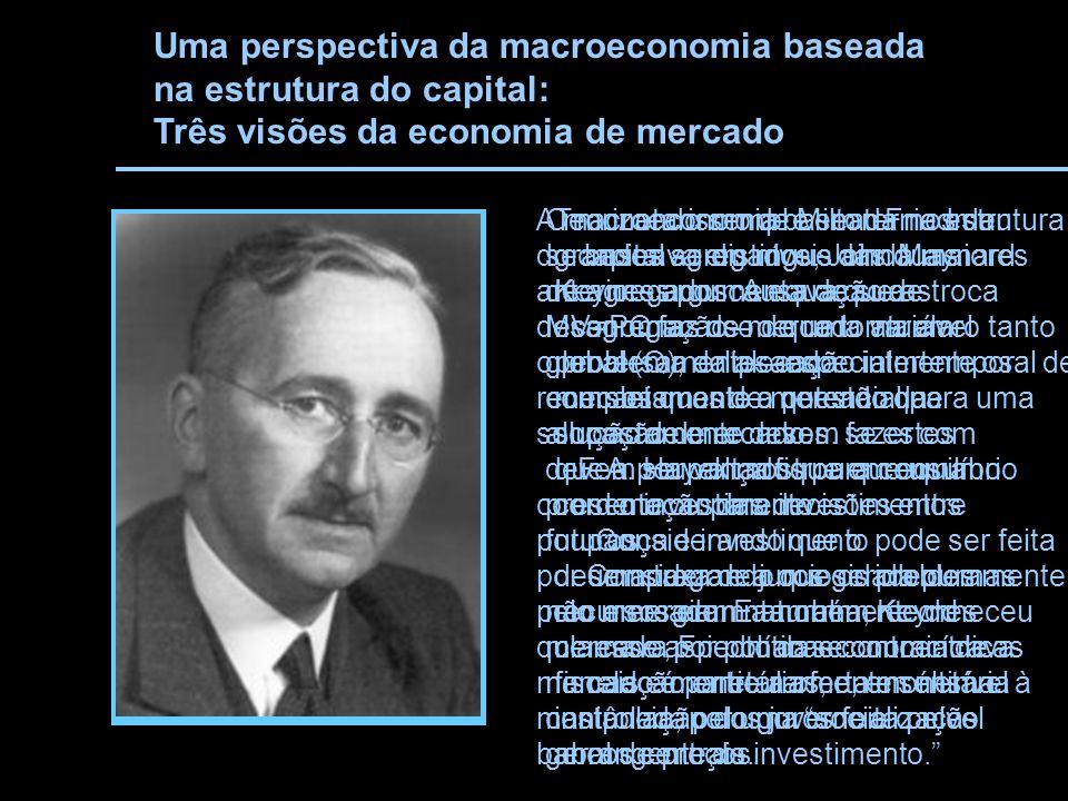 Uma perspectiva da macroeconomia baseada na estrutura do capital: Três visões da economia de mercado Teorizando sempre em termos de grandes agregados, John Maynard Keynes argumentava que as economias de mercado atuam perversamenteespecialmente os mecanismos de mercado que supostamente devem fazer com que a poupança fique em equilíbrio com o investimento.
