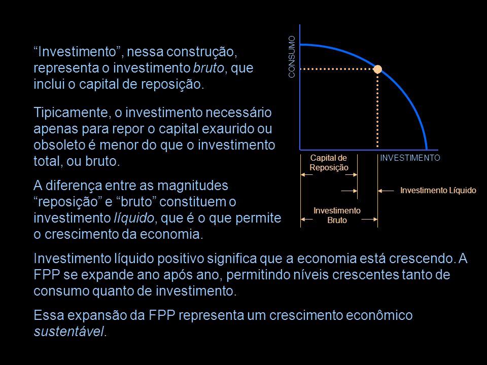 CONSUMO INVESTIMENTO Investimento líquido positivo significa que a economia está crescendo.