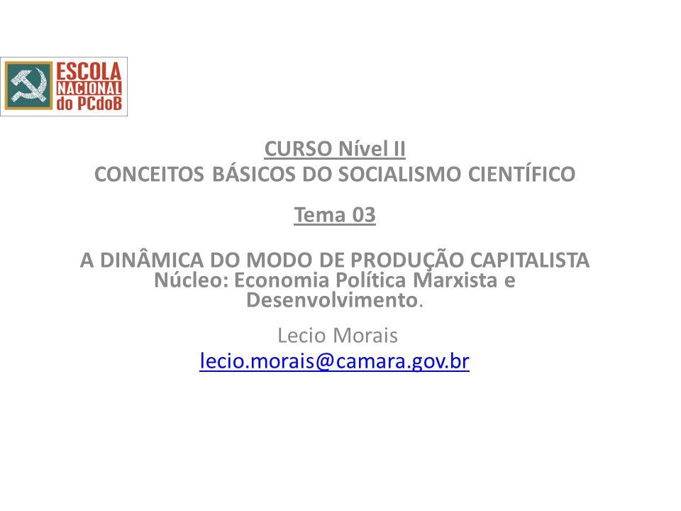 CURSO Nível II CONCEITOS BÁSICOS DO SOCIALISMO CIENTÍFICO Tema 03 A DINÂMICA DO MODO DE PRODUÇÃO CAPITALISTA Núcleo: Economia Política Marxista e Desenvolvimento.
