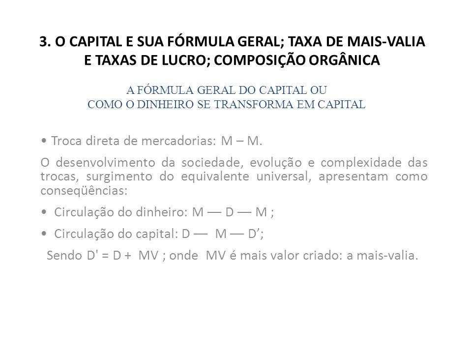 3. O CAPITAL E SUA FÓRMULA GERAL; TAXA DE MAIS-VALIA E TAXAS DE LUCRO; COMPOSIÇÃO ORGÂNICA Troca direta de mercadorias: M – M. O desenvolvimento da so