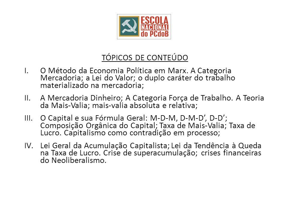 TÓPICOS DE CONTEÚDO I.O Método da Economia Política em Marx. A Categoria Mercadoria; a Lei do Valor; o duplo caráter do trabalho materializado na merc
