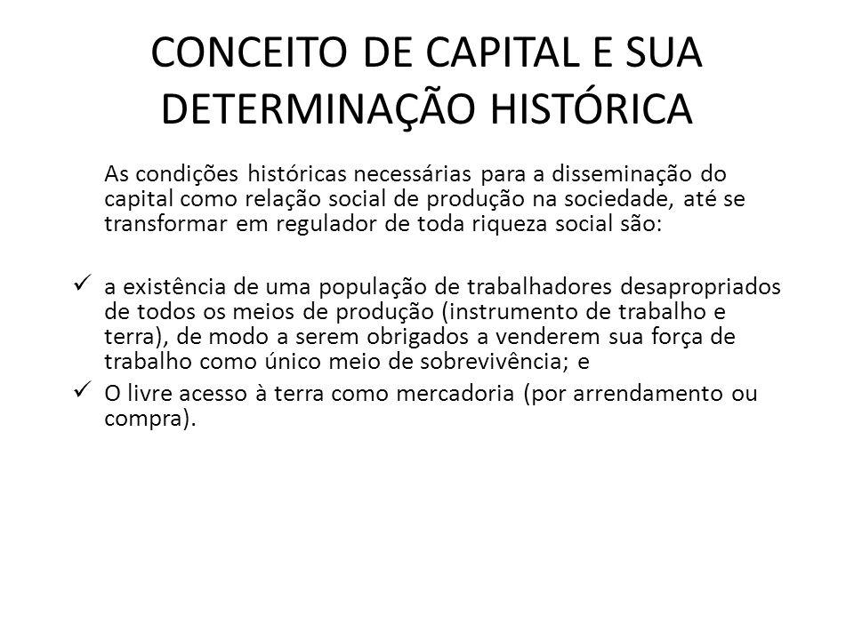 CONCEITO DE CAPITAL E SUA DETERMINAÇÃO HISTÓRICA As condições históricas necessárias para a disseminação do capital como relação social de produção na