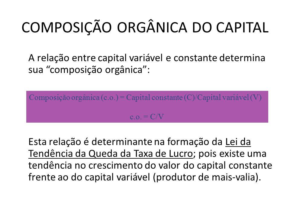 COMPOSIÇÃO ORGÂNICA DO CAPITAL A relação entre capital variável e constante determina sua composição orgânica: Esta relação é determinante na formação da Lei da Tendência da Queda da Taxa de Lucro; pois existe uma tendência no crescimento do valor do capital constante frente ao do capital variável (produtor de mais-valia).