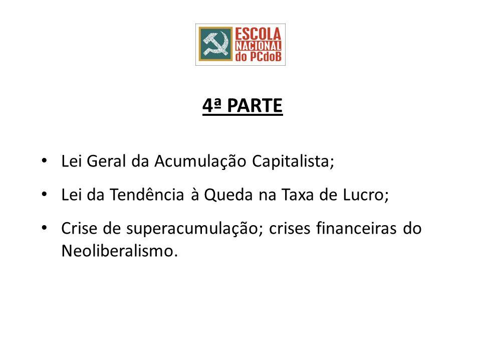 4ª PARTE Lei Geral da Acumulação Capitalista; Lei da Tendência à Queda na Taxa de Lucro; Crise de superacumulação; crises financeiras do Neoliberalismo.