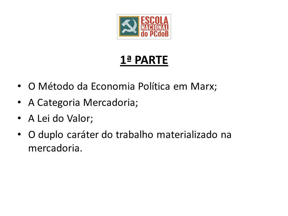 1ª PARTE O Método da Economia Política em Marx; A Categoria Mercadoria; A Lei do Valor; O duplo caráter do trabalho materializado na mercadoria.