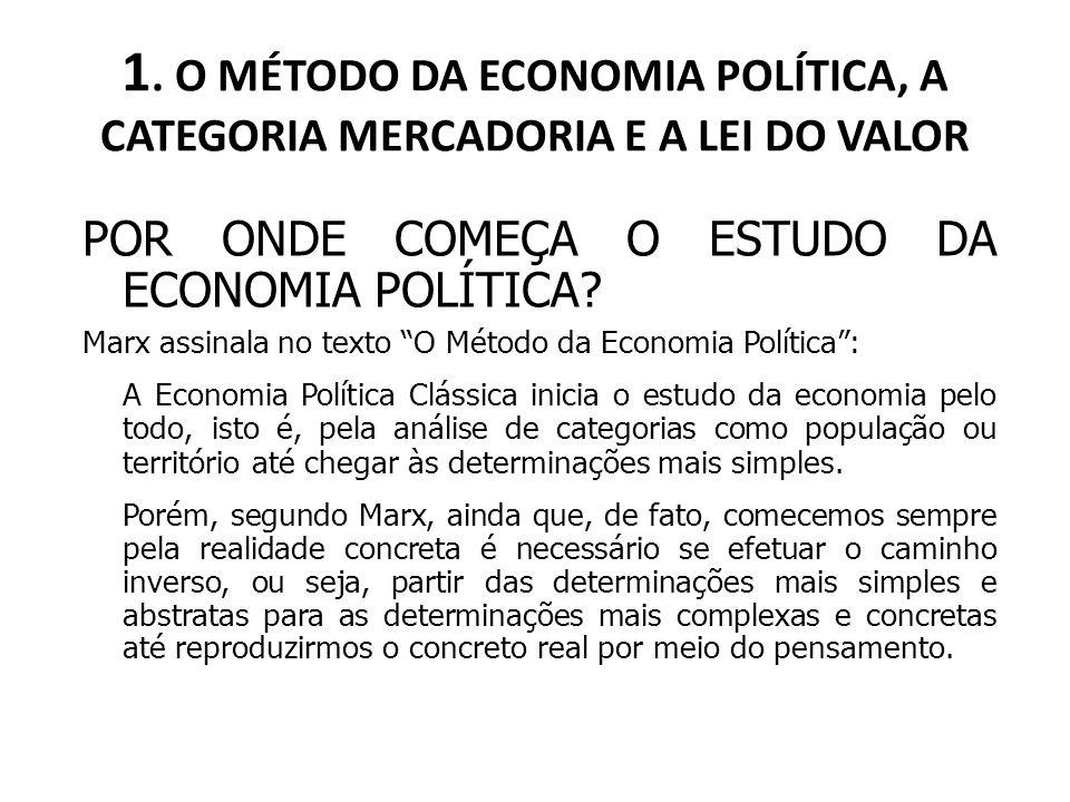 1. O MÉTODO DA ECONOMIA POLÍTICA, A CATEGORIA MERCADORIA E A LEI DO VALOR POR ONDE COMEÇA O ESTUDO DA ECONOMIA POLÍTICA? Marx assinala no texto O Méto