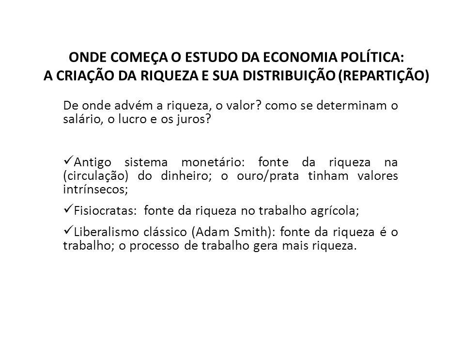 ONDE COMEÇA O ESTUDO DA ECONOMIA POLÍTICA: A CRIAÇÃO DA RIQUEZA E SUA DISTRIBUIÇÃO (REPARTIÇÃO) De onde advém a riqueza, o valor.