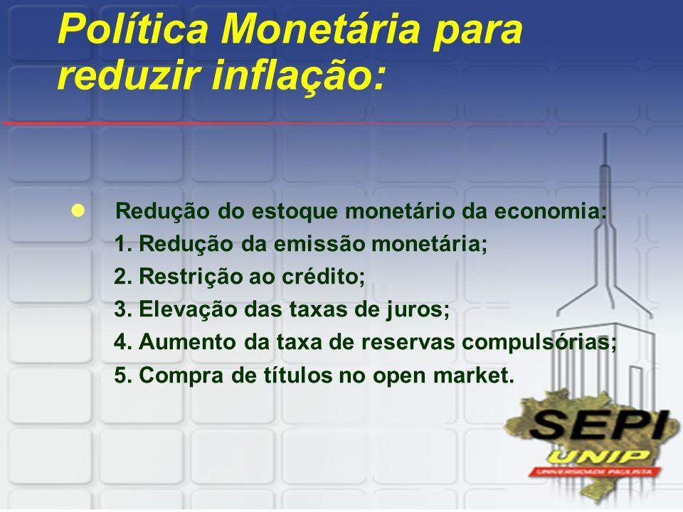 Política Monetária para reduzir inflação: Redução do estoque monetário da economia: 1. Redução da emissão monetária; 2. Restrição ao crédito; 3. Eleva
