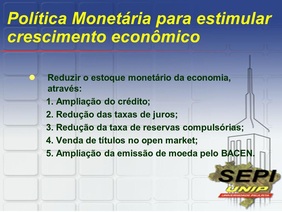 Política Monetária para estimular crescimento econômico Reduzir o estoque monetário da economia, através: 1. Ampliação do crédito; 2. Redução das taxa